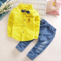 春秋季中小童男童长袖长裤全棉运动套装8字衬衫两件套