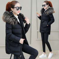 棉袄女中长款韩版新款棉衣流行外套冬装小个子羽绒潮 黑色 M