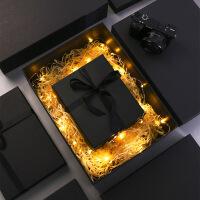 生日礼盒包装盒 精美韩版简约创意发光礼物盒子 围巾衣服礼品盒大号