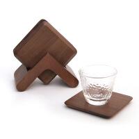 方形黑胡桃实木茶杯垫榉木隔热垫杯托咖啡杯垫防热垫茶艺创意礼品