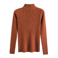 秋季半高领套头毛衣打底衫女长袖短款秋冬韩版百搭修身紧身针织衫