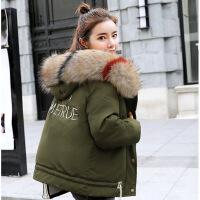 短款棉衣女2018新款冬 韩版潮流时尚宽松外套女款超大毛领