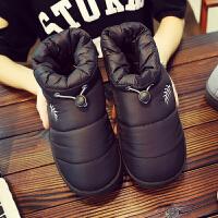 棉拖鞋男士冬天加绒保暖厚底包跟月子女高帮室内防水羽绒情侣棉鞋