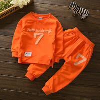 秋季中小童男童长袖长裤全棉可开裆运动套装7字卫衣两件套
