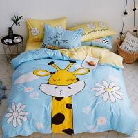 浅蓝卡通小兔四件套学生宿舍儿童双人床单被罩床笠款定制 萌鹿 蓝色