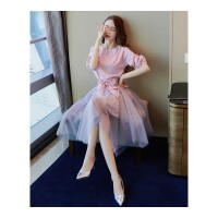 连衣裙女装夏秋装新款韩版时尚中长款仙女气质裙子两件套装