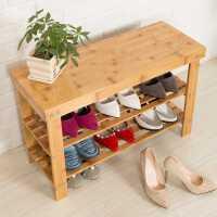 楠竹鞋架换鞋凳简易多层实木鞋柜防尘储物收纳家用经济型穿鞋凳子