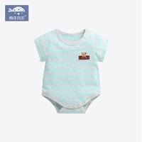 0-3个月婴儿棉包屁衣爬服宝宝夏季短袖三角哈衣婴儿连体衣