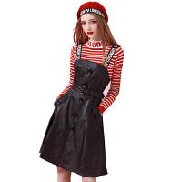 2018秋冬吊带连衣裙女两件套条纹针织打底衫背带皮裙套装 红色