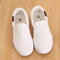男童布鞋女童鞋子儿童帆布鞋一脚蹬休闲鞋学生小白鞋