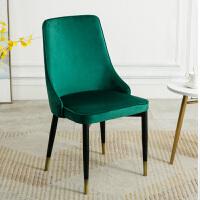 欧式家用餐桌椅轻奢现代简约铁艺靠背椅子 绒布 墨绿 纯色