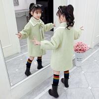 女孩加厚呢子大衣2019秋季新款洋气毛呢大衣女童秋冬装外套