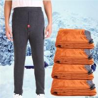 冬季中老年棉裤男人加绒加厚老人棉裤男士宽松加肥三层高腰保暖裤