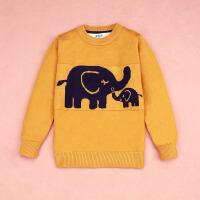 男童毛衣秋冬宝宝小孩加绒加厚儿童中大童套头打底衫针织衫