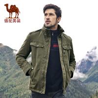骆驼男装 秋季新款 骆驼加厚青年棉衣 中长款棉服