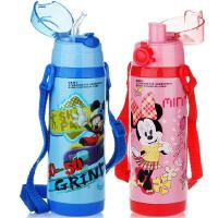 包邮!迪士尼 一壶2盖儿童保温壶 直饮+吸管水壶 双盖设计 450ML保温杯子5725