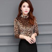 秋冬新款时尚豹纹金丝绒打底衫女装加绒加厚高领T恤大码显瘦上衣