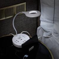 多功能插座台灯带USB家用学生宿舍面板多孔插板带线接插线板智能