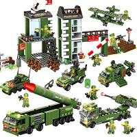 积木导弹车军事基地模型男孩6-10周岁儿童拼装玩具
