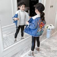 2019新款韩版洋气童装女孩冬装儿童牛仔上衣女童秋冬装加绒外套