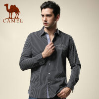 CAMEL骆驼 男装 春季新款直筒休闲衬衣 男士棉长袖衬衣SS13SL071009