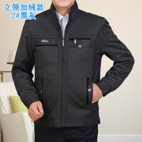 新款男装中年男士加厚加绒夹克衫秋冬装中老年休闲爸爸男外套
