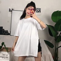 三木子快时尚女装~韩版宽松开叉短袖T恤