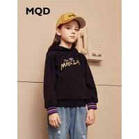 MQD童装加厚女童卫衣2019冬季新款儿童加绒保暖连帽