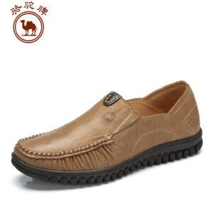 骆驼牌男鞋 春新款 休闲 圆头套脚鞋驾车男鞋子