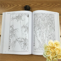 好吉森鹤/北京线上50元包邮//工笔画梅兰竹菊白描底稿画谱/ 国画入门临摹图谱本册/ 花卉作品技法画谱/白描本册---------------------2本+送品QFSY57833