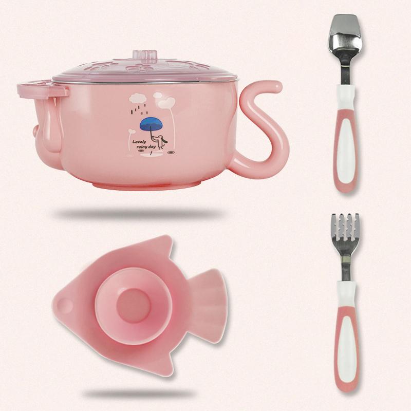 保温碗婴幼儿注水碗儿童保温饭碗宝宝餐具婴儿碗勺套装辅食碗yw wk-172