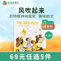 美国进口获得凯特・格林纳威奖 The Wind Blew 风吹起来平装经典趣味故事绘本2-6岁幼儿童书#