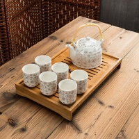 【新品】景德镇陶瓷家用茶具套装瓷器提梁茶壶茶杯套装提梁壶茶具套装礼品 姜黄色 金叶子带茶盘 7件