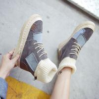 高帮鞋女棉鞋冬季马丁靴女加绒平底雪地靴学生韩版原宿风ins靴子