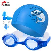 �和�泳�R防水防�F高清男童女童小孩游泳眼�R泳帽套�b