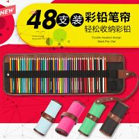开学必备文具 铅笔整理笔帘 36/48支装 帆布笔帘 可插素描/秘密花园填色彩色铅笔帘 收纳笔袋
