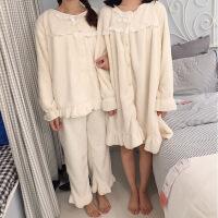 冬季新款白色加绒保暖睡衣睡裙女韩版学生花边家居服两件套装 均码