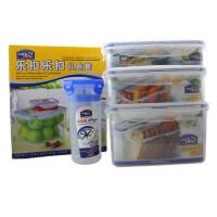 乐扣乐扣 塑料保鲜盒4件套装 密封盒冰箱收纳 HPL818S003 半透明