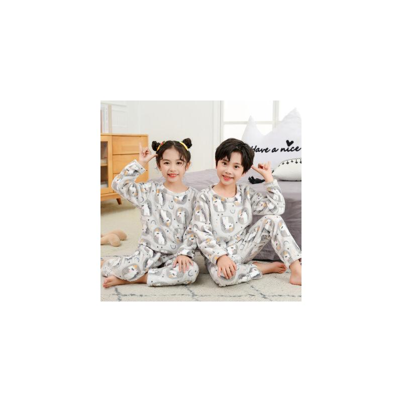 【限时直降:39】秋冬季法兰绒儿童套装加绒内衣男童女童保暖加厚珊瑚绒睡衣家居服