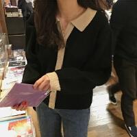 2019流行外套女春装韩国淑女拼色长袖针织衫翻领长袖针织衫女开衫