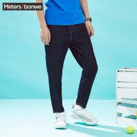 【满299减200】美特斯邦威牛仔裤男士夏装新款百搭竖条纹多方案锥形长裤