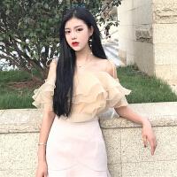 春夏2019新款女装韩版气质欧根莎系带荷叶边宽松显瘦学生吊带上衣