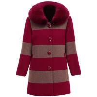 妈妈装秋冬毛呢外套中老年女装加厚带毛领混纺羊绒呢子大衣大码中长款