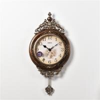 欧式挂钟客厅创意墙面壁钟艺术复古美式大气钟表时钟家用挂表奢华 16英寸