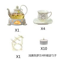 欧式泡花茶壶 煮花草茶具套装 加热玻璃陶瓷煮茶炉花茶杯 蜡烛养生壶 +4杯碟