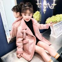 女童大衣女童冬装外套韩版2018新款儿童秋冬洋气中长款时尚加绒呢子大衣潮ZQ74蓝