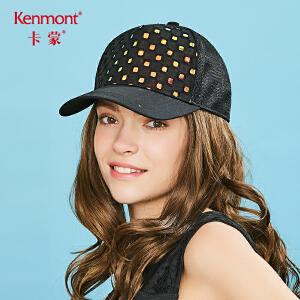 卡蒙黑色帽子格子鸭舌帽户外防晒帽女士网眼棒球帽夏季百搭太阳帽 3628