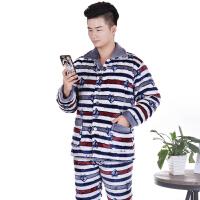 新款夹棉睡衣男士冬季加厚款珊瑚绒法兰绒三层加绒保暖棉袄套装