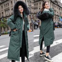 中长款加厚棉衣流行外套新款冬装韩版过膝羽绒冬季棉袄女 绿色 M