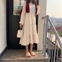 秋冬女装新款韩版白色雪纺A字连衣裙宽松长袖风荷叶边裙子 均码